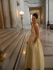 check out the pocket in this gorgeous silk wedding gown (designed and made by the bride!)