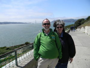 john and mary in wind--golden gate in background